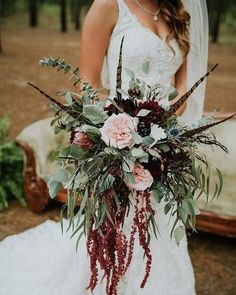 Rustic chic wedding bouquet - overflowing greenery bouquet with pink and burgund. Rustic chic wedding bouquet - overflowing greenery bouquet with pink and burgundy flowers Flaura Botanica STEP-BY-STEP I. Feather Bouquet, Bridal Bouquet Fall, Fall Wedding Bouquets, Wedding Flower Arrangements, Bride Bouquets, Amaryllis Wedding Bouquet, Greenery Bouquets, Rustic Bouquet, Rustic Wedding Flowers