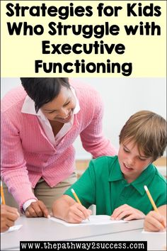 Strategies for kids and teens who struggle with executive functioning skills. If your students struggle with staying organized, focusing in class, managing their time, or persevering through challenges, this blog post is for you. Learn how to provide simple supports to teach the skills kids and teens need. Study Skills, Coping Skills, Positive Self Talk, Executive Functioning, Student Success, Confidence Building, Staying Organized, Growth Mindset, Time Management