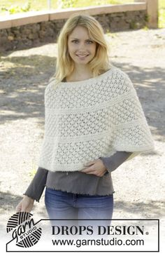 Miss Lillian - Knitted DROPS poncho in garter st with blackberry pattern, worked top down in 1 thread Cloud or Eskimo or 2 threads Air. Size: S - XXXL. - Free pattern by DROPS Design Crochet Cape, Crochet Scarves, Crochet Shawl, Knit Crochet, Knitting Patterns Free, Knit Patterns, Free Knitting, Free Pattern, Drops Design