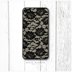 iPhone 4 and 4S case Black Lace on Cream by HelloNutcase on Etsy, $15.00