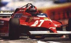 Gilles Villeneuve, Ferrari 126CK. Off the island with opposite lock. As usual.