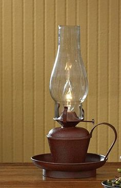New Primitive Country BLACK HURRICANE LAMP Electric Oil Lantern ...