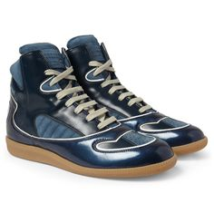 Maison Martin Margiela - Panelled Leather and Suede High Top Sneakers|MR PORTER