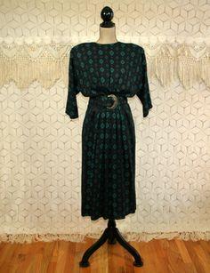80s Dolman Sleeve Dress Black Tribal Print Midi by MagpieandOtis