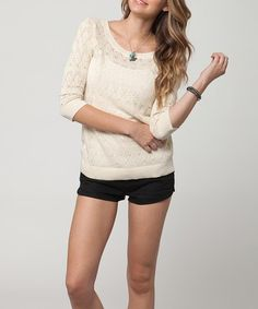 Take a look at this White Fate Pointelle Three-Quarter Sleeve Top by O'Neill on #zulily today!