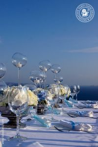 Wedding in the hues of white, ivory and light blue, Santorini, 2