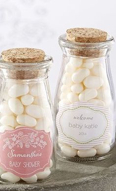 Cute Baby Shower Favor~Love The Corked Jars!