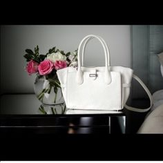 """Snob Essentials Aliza tote Brand new Snob Essentials white Aliza tote. Beautiful bag, measurements are below! Approx 10""""L x 2 7/8""""W x 8""""H with a 5 1/2""""L handle drop and a removeable, adjustable cross body strap. Please read all posted closet and offer rules BEFORE submitting an offer. Snob Essentials Bags Totes"""