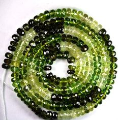 69.80 Cts Natural Chrome Green Tourmaline Roundel Beads Mozambique  Tourmaline gemstone from Mozambique, dark green and shades of light greens,tourmaline beads,  gemstones beads