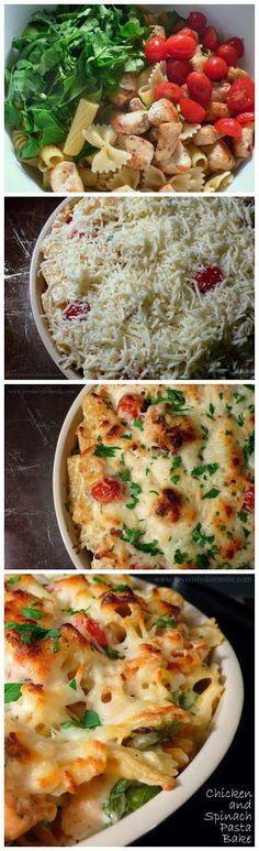 Chicken and Spinach Pasta Bake ~ Muchtaste
