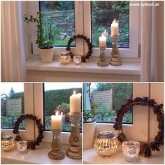 Candles and wreath on windowsill.