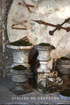 Old Marble & Cast Iron Urns