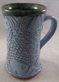 Castille Blue Mug With Carved Fish Design by PamBailey