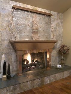 Fireplace waterfall
