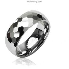 Tungsten carbine ring with honey comb multi-faced design #mspiercing #piercings