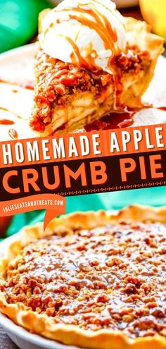 Out of holiday baking recipes? Try this Apple Crumb Pie! This deliciously sweet Thanksgiving dessert starts with a flaky pie crust filled with cinnamon apple filling and topped with crumb topping. Save this pin!