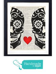 NEW(s) To Me: Amazon has an All-Things-Are-Handmade Section!!...  -- Shown: (Super Cute!!..) Sugar Skull Love Upcycled Vintage Dictionary Art Print 8x10 by Vintage Art Co. ($12.99 + Free Shipping, NOTE: Sold by Vintage Book Art & Fulfilled by Amazon <-- Just like a Regular Amazon Listings Re: Check-out)