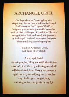 A short prayer/meditation for Archangel Uriel by Rebecca Rosen.
