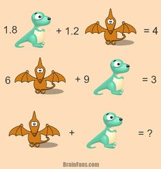 Brain teaser - Number And Math Puzzle - hard math riddle for geniuses - This one is really tough. Are you the expert to solve this math puzzle with dinosaur & pterodactyl? If this is true, please comment below and give us your answer! Riddles Logic, Logic Math, Logic Puzzles, Picture Logic, Picture Puzzles, Puzzle Of The Day, Puzzles For Kids, Brain Teasers, Mathematics