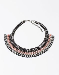 Braided thread and stone necklace - Accessories - Bershka Tunisia
