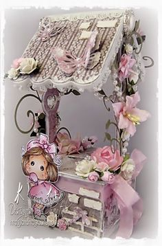 Cards made by Chantal: Ribbon Girl Challenge - Use any image + Shaped card or Anything goes