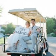 so decorating my grandparents' golf carts for our pre-wedding pics!