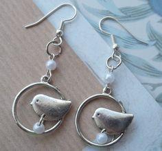 Encircled Bird Earrings on Etsy @Jerri Rivers