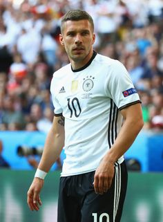 Lukas Podolski of Germany in action during the UEFA EURO 2016 round of 16 match between Germany and Slovakia at Stade Pierre-Mauroy on June 26, 2016 in Lille, France.