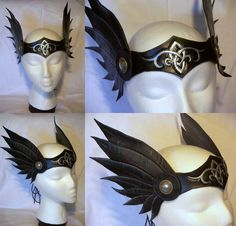 Custom designed Valkyrie circlet made of 5 oz veg-tanned leather. Wings are attached with leather and metal conchos. Black and Silver Celtic Winged Valkyrie Circlet Cool Costumes, Cosplay Costumes, Halloween Costumes, Thor Costume, Costume Ideas, Costume Valkyrie, Winx Cosplay, Halloween Karneval, Dragon Costume
