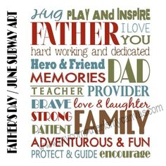 INSTANT DOWNLOAD JUNE or Father's Day Subway Art - Printable. $5.00, via Etsy.