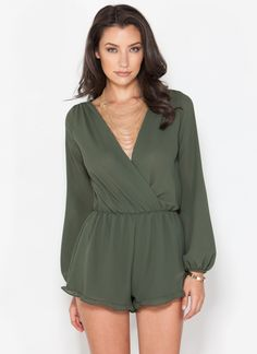 A chic #OOTN that's not a dress? We're already on it, Janes. #romper #surplice #olive #ruffle #gojane