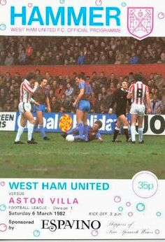 West Ham 2 Aston Villa 2 in March 1982 at Upton Park. The programme cover #Div1