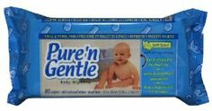 Pure 'n Gentle Baby Wipes, Travel/Refill Pack Reach-In Dispensing, Scented, 80-count Fin Pack (Pack of 12) by Pure 'n Gentle. $20.28. Travel/Refill Pack. Spunlace Fabric. Contains Aloe, Chamomile & Vitamin E. Scented Formula. Premium Pure 'n Gentle wipes are gentle on your skin and budget friendly.    Keep baby clean and fresh with each diapering. Premium Pure'N Gentle wipes are made of a unique cloth-like fabric that is super strong and extra soft for gentle cleansin...