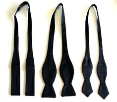 Batwing Bows- Narrow bow ties are a little less formal  Thistle or Semi-Butterfly(or just Butterfly)- Classic Bow Tie and is Considered more for black tie affair.  Bow Ties with Pointed Ends- think black tie event with a twist.