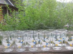 Twelve Vintage Glasses  Jelly Glasses  Blue and by SimplySuzula