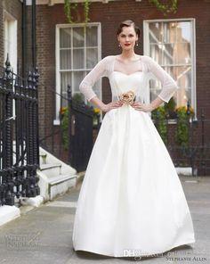 2014 Spring White Taffeta Wedding Dress w/ Sweetheart 3D Flowers & Chocolate Wide Waistband w/ Pockets and jacket