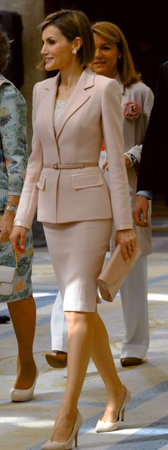 Queen Letizia - Pale Pink Suit