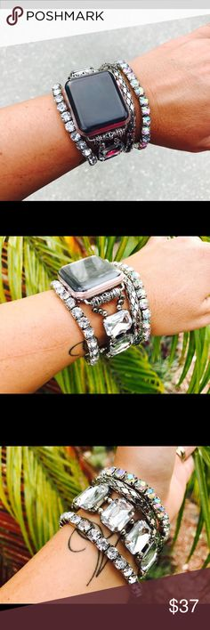 ⌚️ Apple Watch Stackable Michael Fitbling Do you find that your Watch is clashing with your attire?! Complete your wardrobe with this beautiful grey boho chic Fitbling! This Apple Watch stretch bracelet comes in three sizes, is offered with all series, and easily slides on to your Apple Watch. Series 1&2 , 38mm & 42mm. Custom Made Jewelry Bracelets