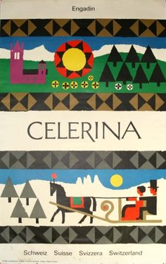 Celerina, Switzerland - original 1960s travel poster listed on AntikBar.co.uk