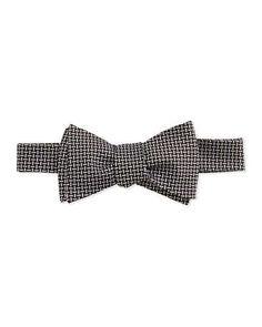 Neiman Marcus Textured Basket Weave Bow Tie, Black