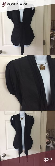 Rock & Republic blazer 100 linen shell. 60 cotton/40 poly scarf and short cuffed sleeves. Black. Can be worned opened or closed. Scarf tied or left down. Just beautiful and classy!  NWOT Rock & Republic Jackets & Coats Blazers