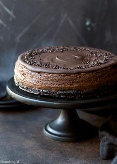 Chocolate Mascarpone Cheesecake Recipe - chocolate cookie crust, luscious dark chocolate mascarpone filling and rich chocolate ganache topping.