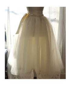 Floor Length Tutu - Romantic Ballerina Bridal Tulle Skirt with Lining and Satin Sash by Anjou - Whimsical Wedding, Party, Prom, Plus Size. $188.00, via Etsy.
