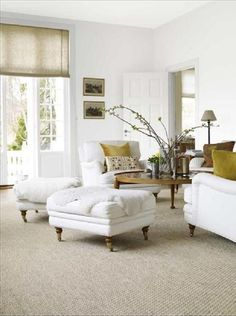family room inspiration | sisal rug | white walls | white upholstered (slip-covered chairs) | linen shades (panels) | wood tones | would work perfect with leather sofa  Havens South Designs :: loves these Benjamin Moore whites and off-whites, from mother and daughter design team Suzanne and Lauren McGrath.  1. Ivory White . . . . . 2. White Dove . . . . . 3. Decorator's White 4. Atrium White . .  5. Acadia White . . .. 6. Elephant Tusk