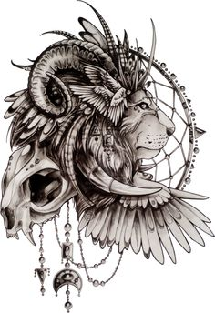 Lion sketch tattoo by ~quidames on deviantART. I don't know why, but I actually really like this... Change the lion to leopard, ram horns to bull horns, and modify headdress