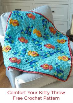 Comfort Your Kitty Throw Free Crochet Pattern from Red Heart Yarns