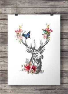 Vintage deer engraving - deer flower garland printable - Instant download
