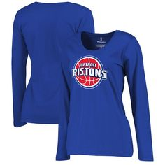 Detroit Pistons Women's Plus Sizes Team Primary Logo Long Sleeve T-Shirt - Royal