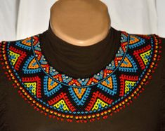 Beaded Necklace Seed beads collar Necklace by NakaHandMadeShop Beaded Choker Necklace, Seed Bead Necklace, Tribal Necklace, Tribal Jewelry, Collar Necklace, Seed Beads, Beaded Jewelry, Beaded Necklaces, Collar Redondo