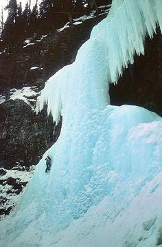 RAF MR trip to Canada 1984 ~ Mark Sinclair (Cheeky) featured climbing Louise Falls near to Banff. 1984. Photo credit-Tom MacDonald (me).